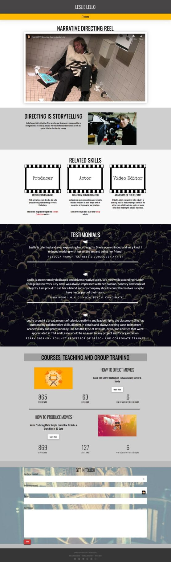 one page website landing page style
